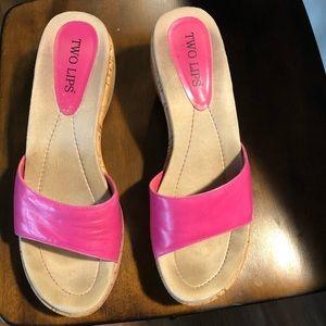 Two Lips Fuchsia Strap Cork Sole Sandals size 10M